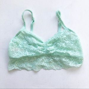 Pink Victoria's Secret Sea Foam Green Lace Bralet